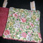 Carrés lavables 'Fleurs roses'/Rose